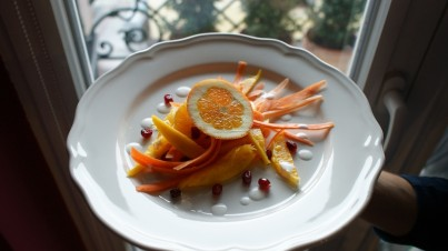 Salade de carotte, mangue, orange et grenade