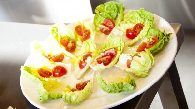 Little bateau - baby cos or gem lettuce with cherry tomatoes and avocado