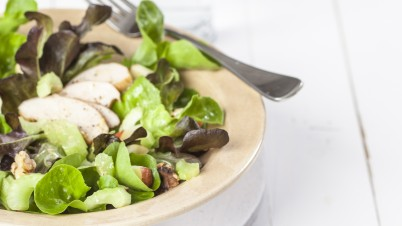 Salanova salad with celery and smoked chicken