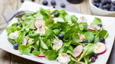 Salade met blauwe bessen en geitenkaas