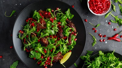 Smoked duck with roasted beetroot and pomegranate