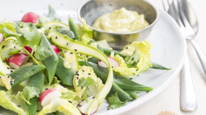 Green bean salad with green goddess dressing