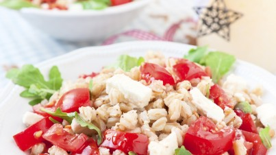Spelt salad with cherry tomatoes and fresh feta cheese