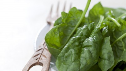 Spinazie salade met komkommer en verse munt