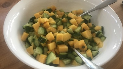 Summer mango and cucumber salad