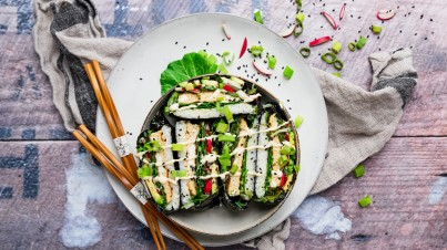 Sushi sandwich with miso mayonnaise and a bunch of vegetables