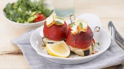 Geroosterde paprika's met aubergine en feta
