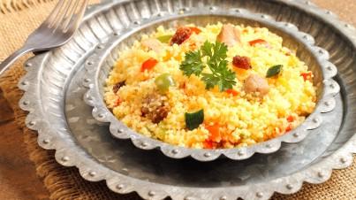 Ensalada taboulé con cordero especiado marroquí