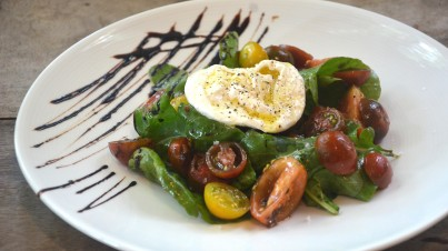 Tomato salad with black garlic vinaigrette