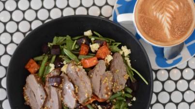 Warm sweet potato and lamb salad