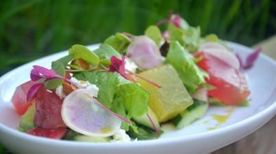 Watermelon, cucumber and java apple salad