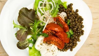 Salade de lentilles avec des tomates séchées et du chèvre