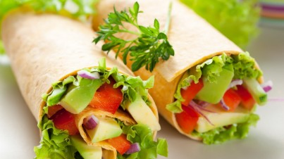 Rainbow salad wraps