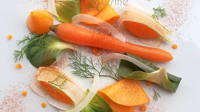 Zucca con finocchio, carota, cicorino verde e polvere di peperone crusco