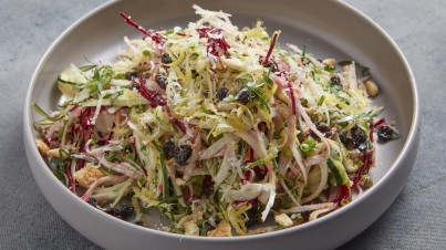 A refreshing homemade slaw with zucchini and beetroot