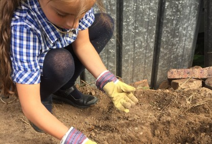 Child in the garden gardening