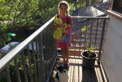 Kid dog tomato plant balcony