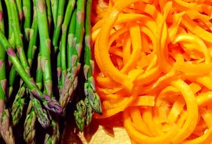 Espárragos y zanahoria