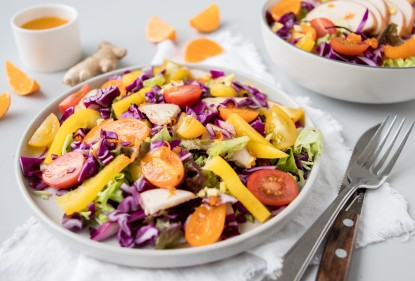 Food Talk - Rode kool + recept salade met gerookte kip & mandarijn-gember dressing