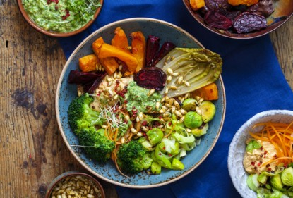 winter salad bowl, nourishing health bowl, winter salad, roast vegetables