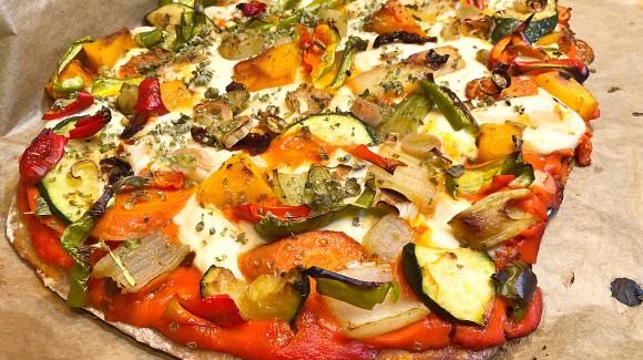 Vegan-pizza multiverduras