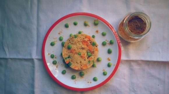 Cous cous di farro con piselli, carote, curcuma