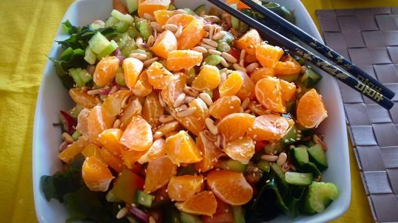 Ensalada arroz, wakame y mandarina