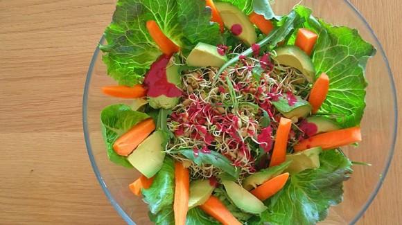 Ensalada de hojas verdes y germinados con vinagreta de cereza