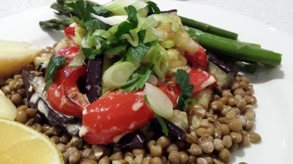 Lentils with eggplant, capsicum and fresh lemon juice