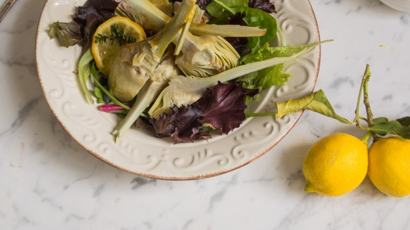 Ensalada de alcachofas con vinagreta de cítricos