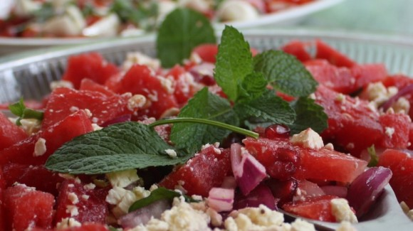Watermelon and pomegranate salad with red onion