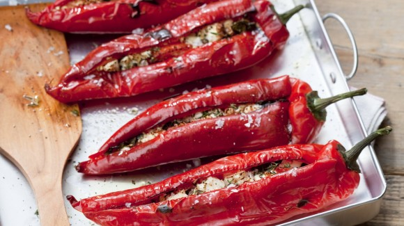 Peppers stuffed with tomato, basil and feta