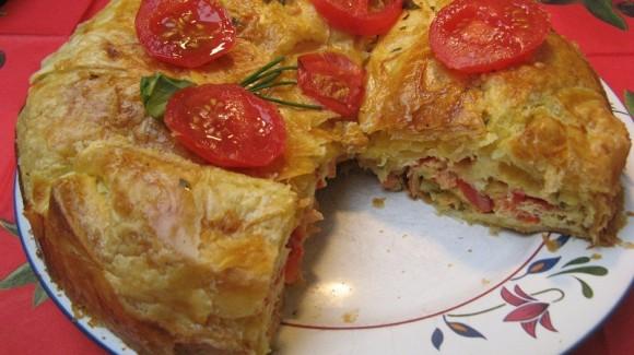 Tarta de tomate y salmón