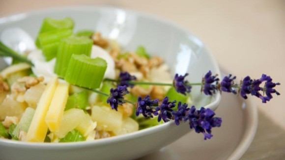 Celery salad with pineapple, walnuts and tasty cheese