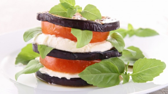 Tomato, Eggplant and Mozzarella Stack