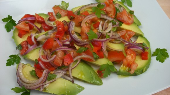Simple avocado and salsa salad