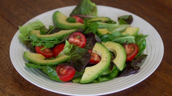 Salanova butter lettuce with avocado, tomato and fresh herbs