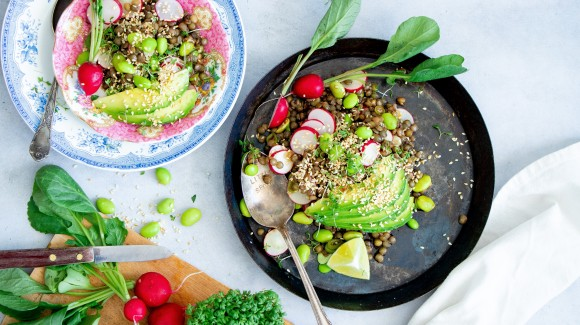 Asian lentil salad with soybeans and avocado