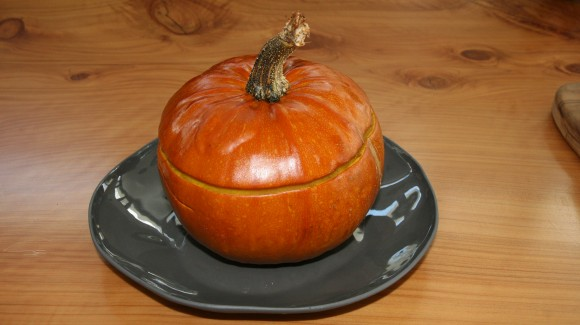 Baked pumpkin filled with eggplant and barley