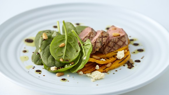 Balsamic lamb salad pumpkin baby spinach  and pine nuts