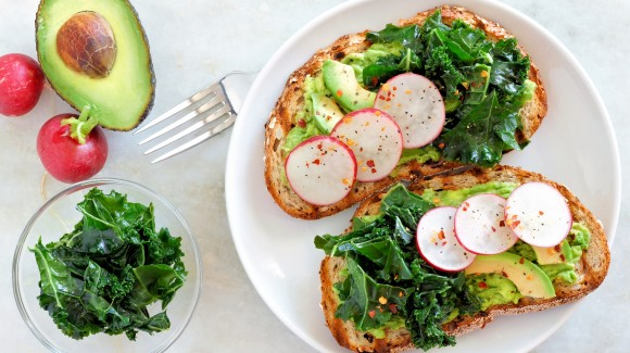 Avocado, radish and kale sandwich