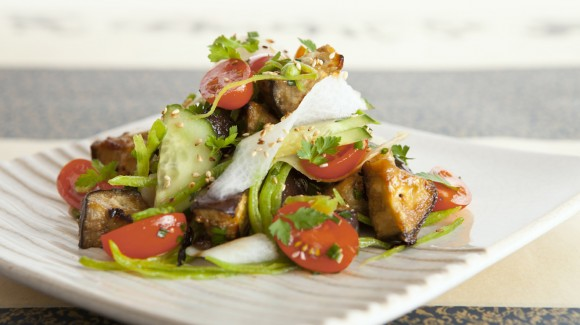 Japanese style miso roasted eggplant salad with ponzu dressing