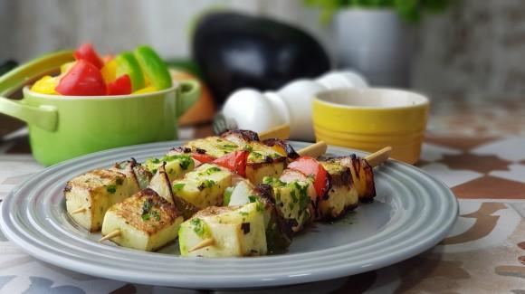 Brochetitas de calabacín, pimiento y cebolla