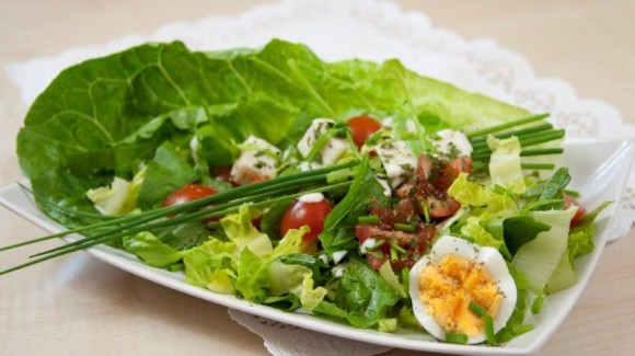 Goat cheese salad with baby cos (gem lettuce)