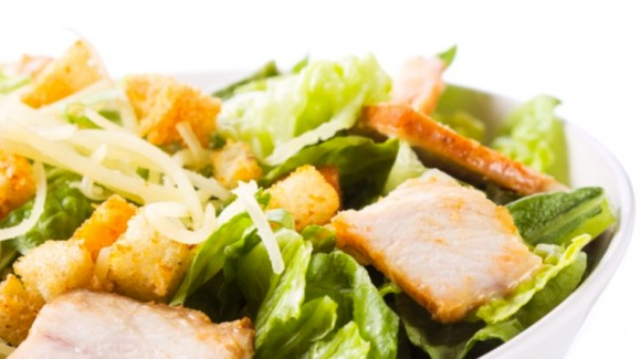 Caesar Salad with pan fried chicken, fresh shaved parmesan and croutons