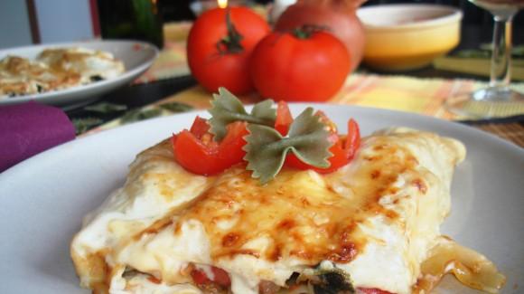 Canelones vegetales de pisto de verduras, espinacas y atún