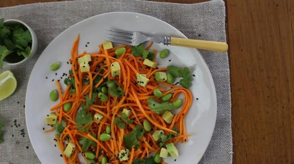 Carrot edamame ginger salad