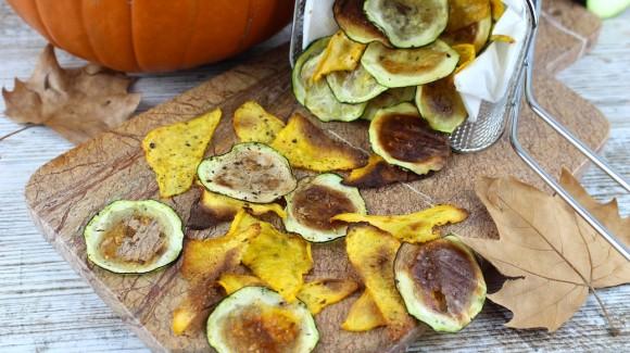 Snacks crujientes de calabacín y calabaza