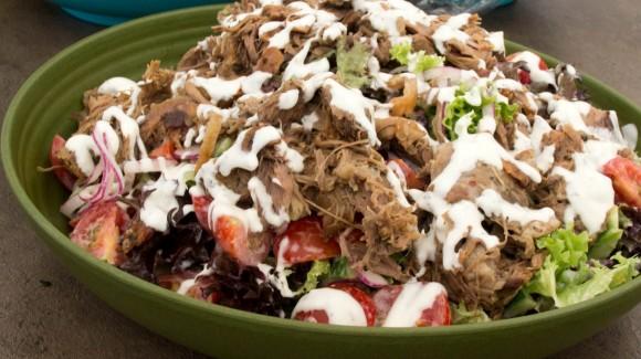 Deconstructed souvlaki salad