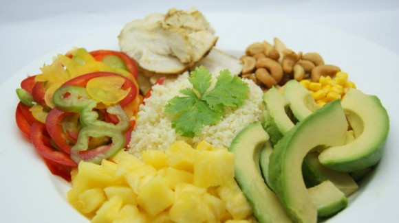 Tropical couscous salad with chicken